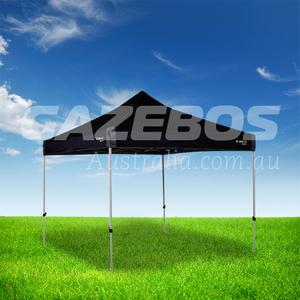 OZtrail Deluxe 3.0 Gazebo with Black Canopy 3m x 3m